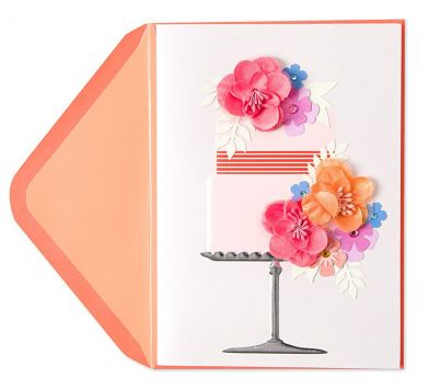 Card with flowers and a cake