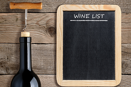 Chalkboard wine list