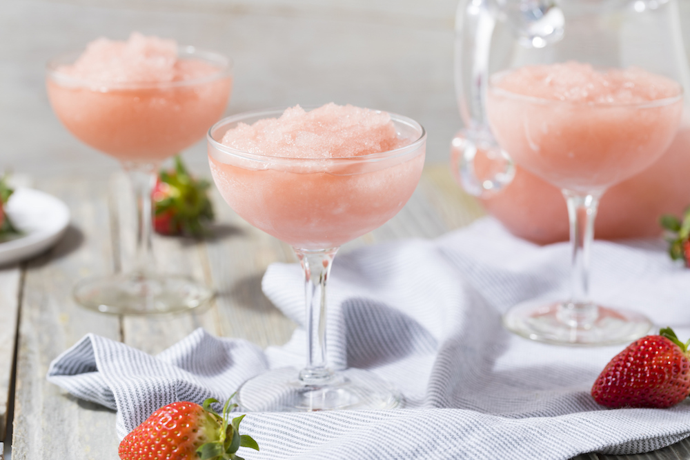 Cold Refreshing Frozen Frosé Rosé Wine Cocktail in the Summer