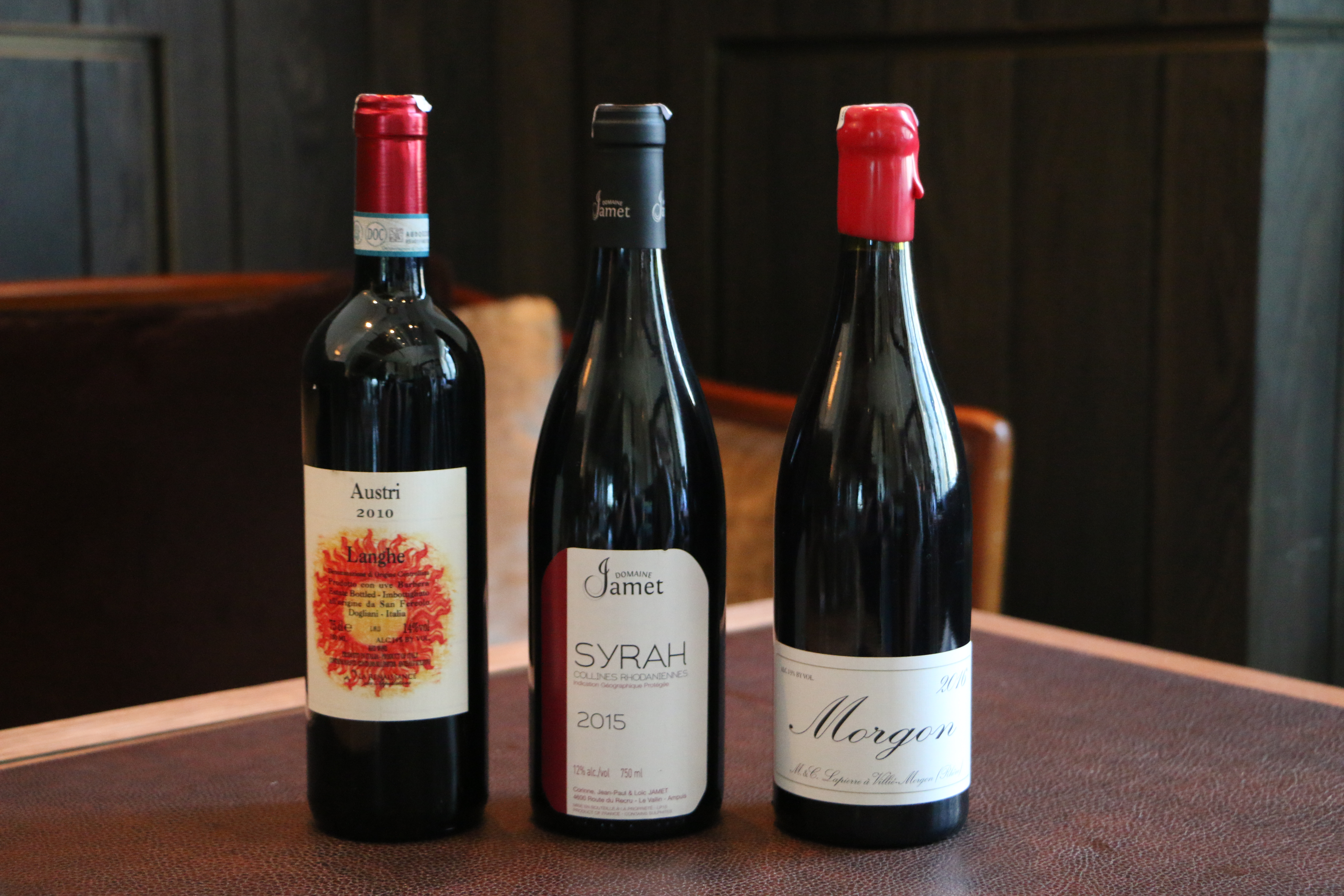 Three bottles of red wineCouvreux