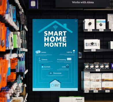 Photo of a poster for Smart Home Month in Amazon Books