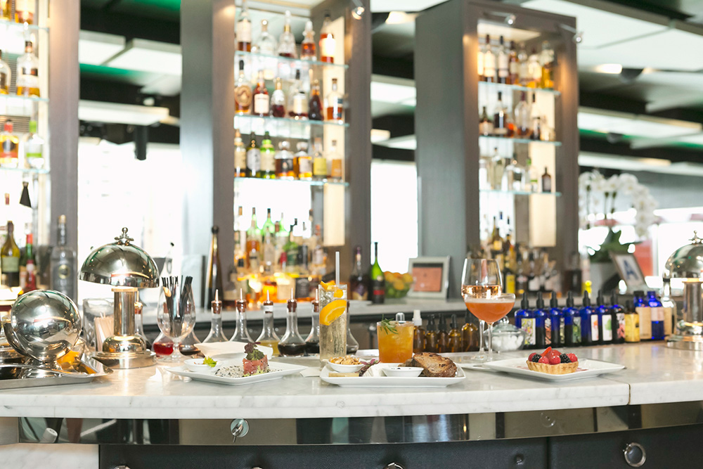 Bar with food and wine