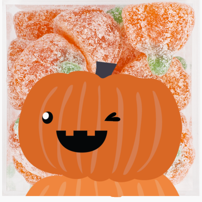 A container of pumpkin gummies with a smiling pumpkin sticker on the top