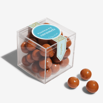 A clear box of pumpkin pie caramels from Sugarfina