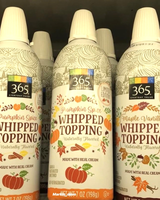 Can of pumpkin spice whipped topping