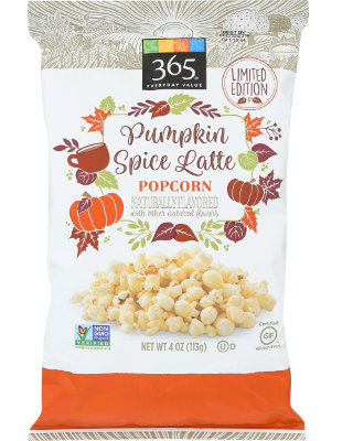A large bag of pumpkin spice latte flavored popcorn