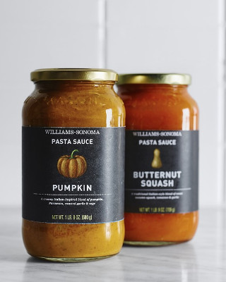Two jars of pasta sauce using pumpkin and squash