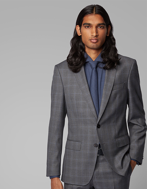 Hugo boss extra-slim grey three piece suite
