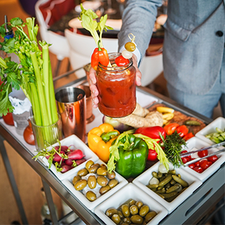 Bloody Mary cart at Bluebird london