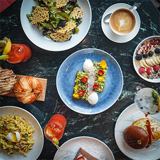 assorted breakfast options from bluebird london