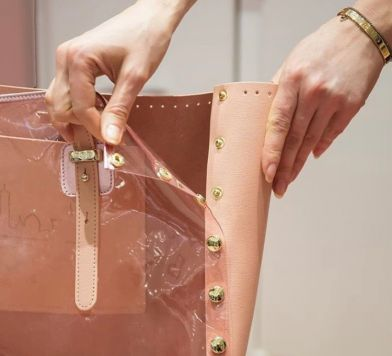 Pink clear and leather purse from Pop Bag