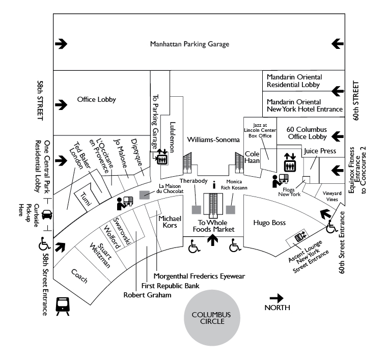 First Floor Map of the Shops at Columbus Circle
